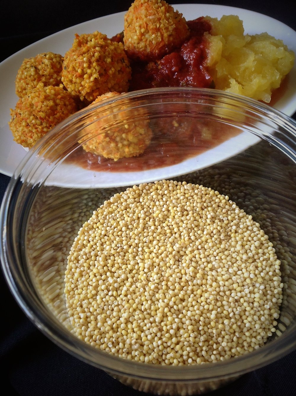 Chef's Plant-Based Tip:  Millet is a gluten-free whole grain.  It's often found in eastern African cooking, where it's ground to flour for Ethiopian Njera bread.  It provides healthy fiber and vegan protein while also soaking up flavor.  Perfect for this healthy, plant-based Italian meatball recipe