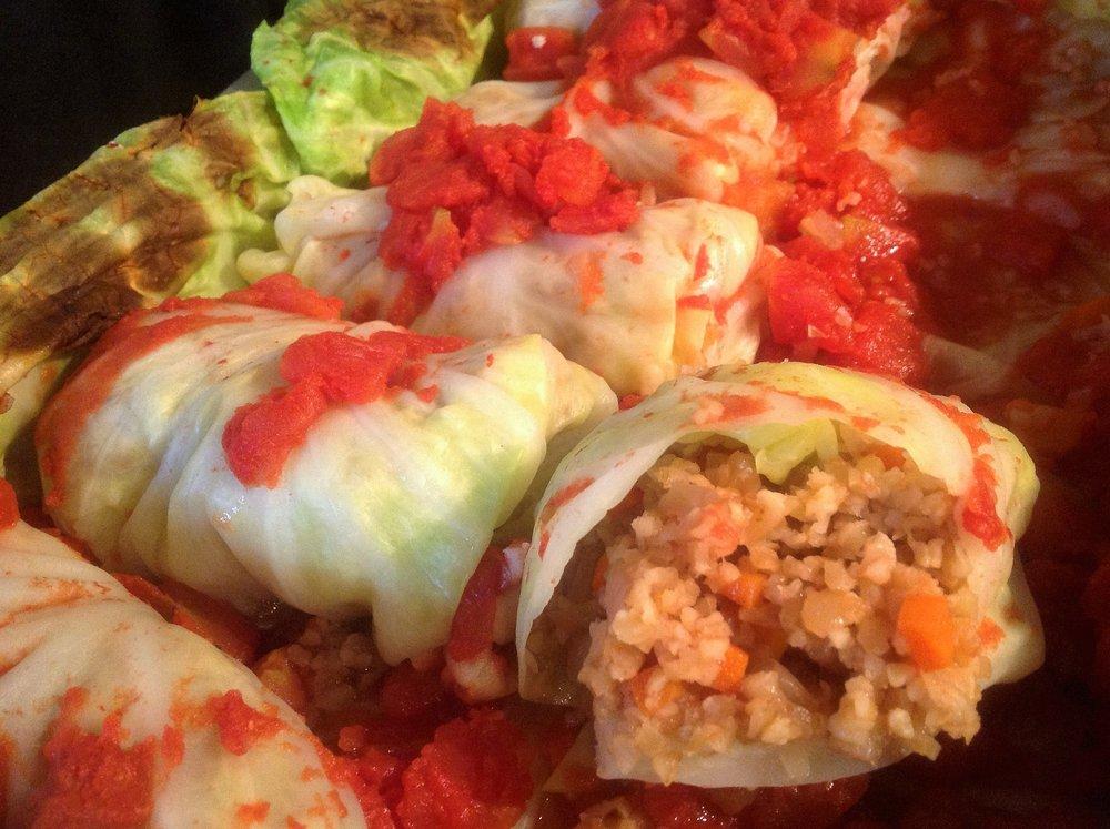 Bulgur Stuffed Vegan Cabbage Rolls - Healthy, Plant-Based, Oil-Free, Whole Grain, Comfort Food Polish Recipe