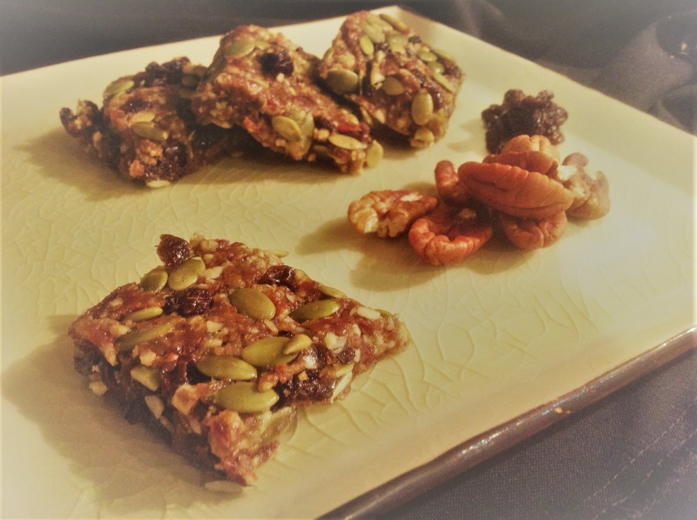 Pumpkin Spice Pecan Raw Energy Bars - Healthy, Plant-Based, Oil-Free, Gluten-Free, Vegan Snack Recipe