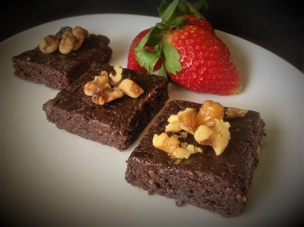 Raw Walnut Chocolate Fudgy Vegan Brownies - Healthy, Oil-Free, Gluten-Free, Dairy-Free, Plant-Based Dessert Recipe 2