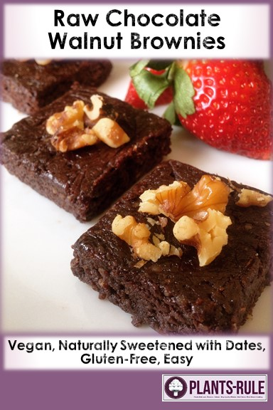 Raw Walnut Chocolate Fudgy Vegan Brownies - Healthy, Oil-Free, Gluten-Free, Dairy-Free, Plant-Based Dessert Recipe Pin