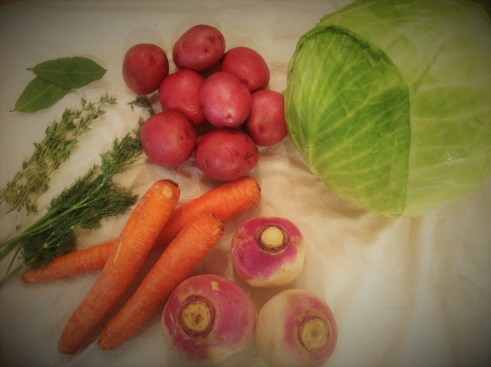 The humble ingredients of Irish cooking:  Cabbage, potatoes, turnips, and carrots provide hearty satisfaction, balanced nutrition, and make for a budget-friendly dinner