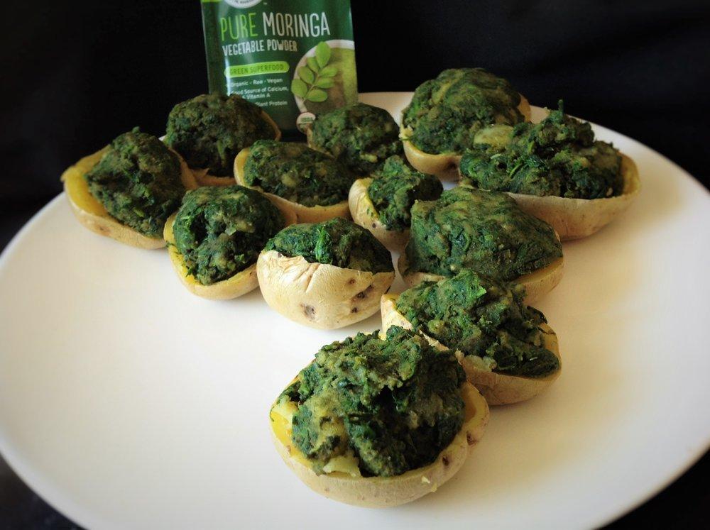 Quick Luck-of-the-Irish Green Potato Bites with Moringa