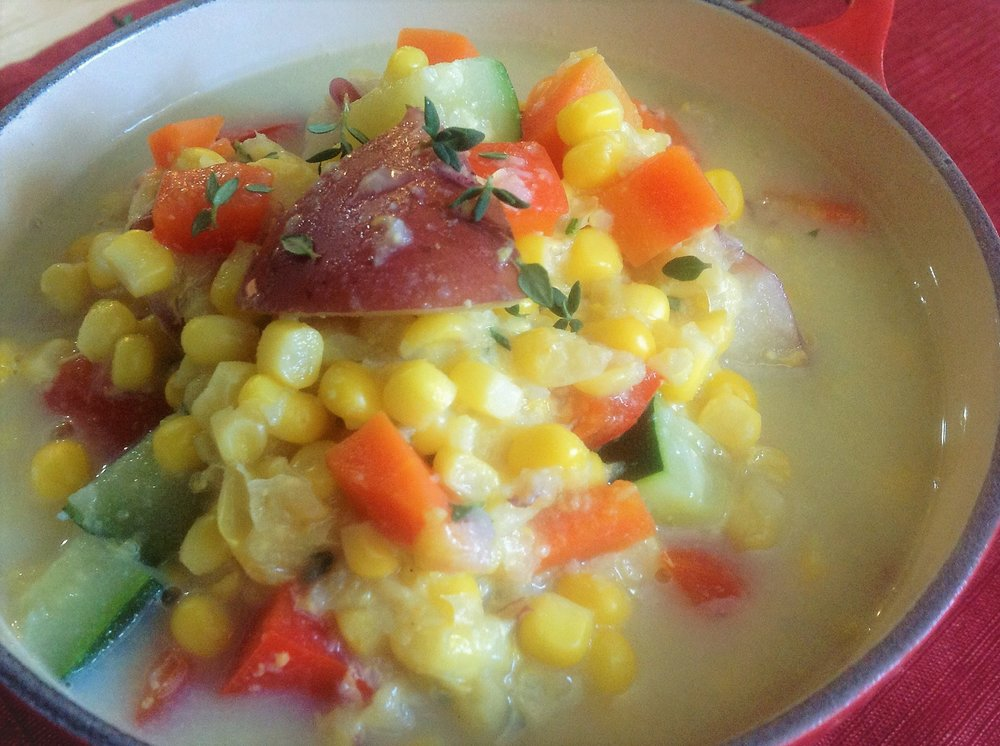 Easy Chunky Vegan Summer Corn Chowder - Healthy, Plant-Based, Oil-Free, Gluten-Free, Dairy Free Soup Recipe