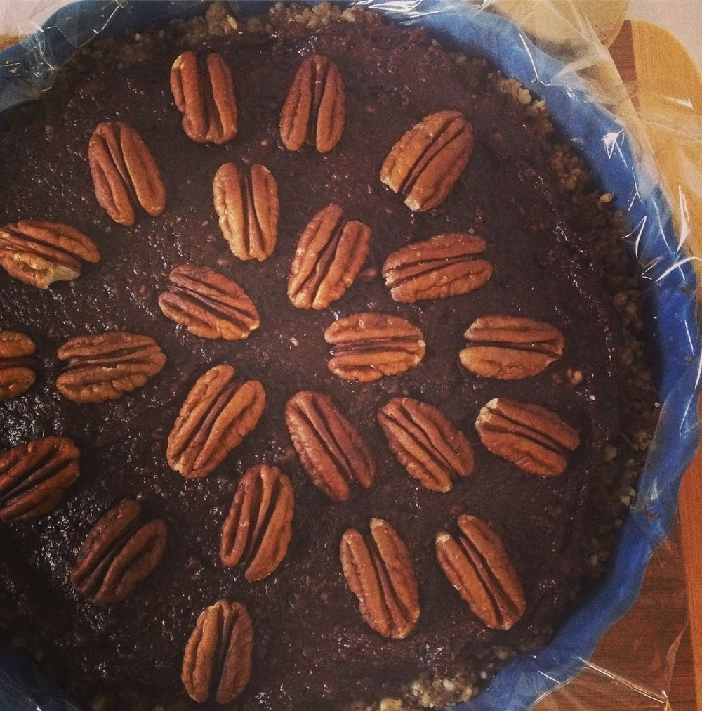 Raw Chocolate Pecan Kentucky Derby Pie - Healthy, Plant-Based, Oil-Free, Gluten-Free, Dairy Free Dessert Recipe