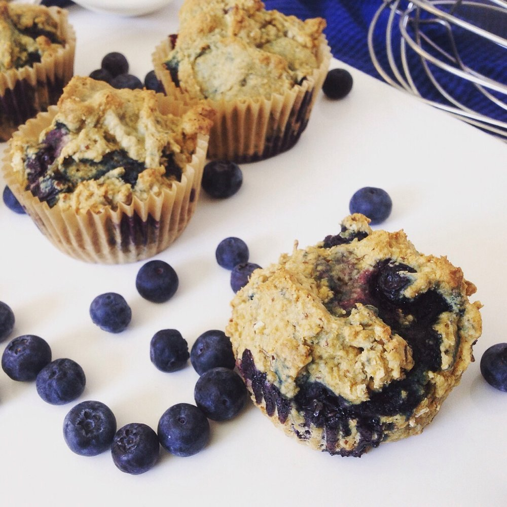 Whole Grain Blueberry Oat Muffins - Healthy, Whole Grain, Plant-Based, Oil-Free, No Sugar or Syrup Added Baked Bread Breakfast Snack