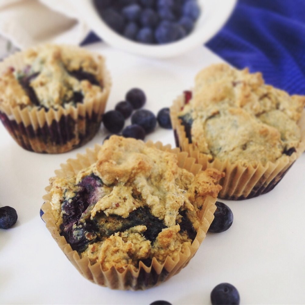 Frozen blueberries add a pop of flavor to these healthy whole grain muffins.  You can also use frozen raspberries, cherries, or raisins