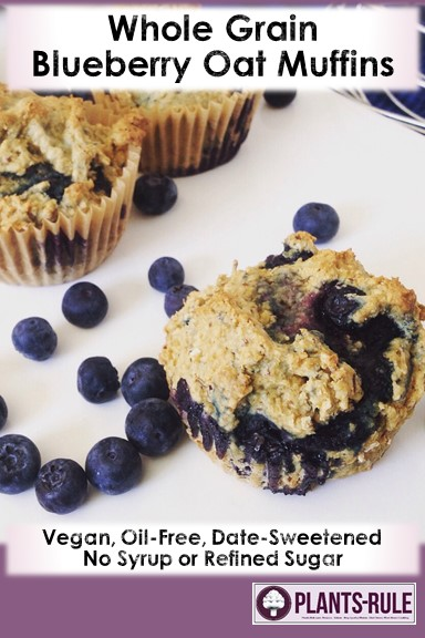 Whole Grain Blueberry Oat Muffins.jpgWhole Grain Blueberry Oat Muffins - Healthy, Whole Grain, Plant-Based, Oil-Free, No Sugar or Syrup Added Baked Bread Breakfast Snack Pin