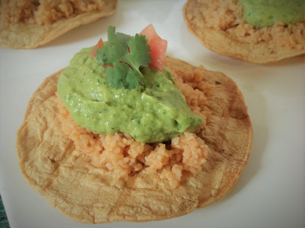 Oaxacan Baked Tostadas with Tomatillo Serrano Guacamole - Oil-Free, Plant-Based, Spicy, Mexican, Vegan Appetizer and Dinner Recipe
