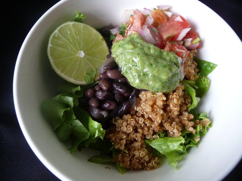 Use Guacamole to replace Sour Cream or oily dressing in a Quinoa Fiesta Bowl