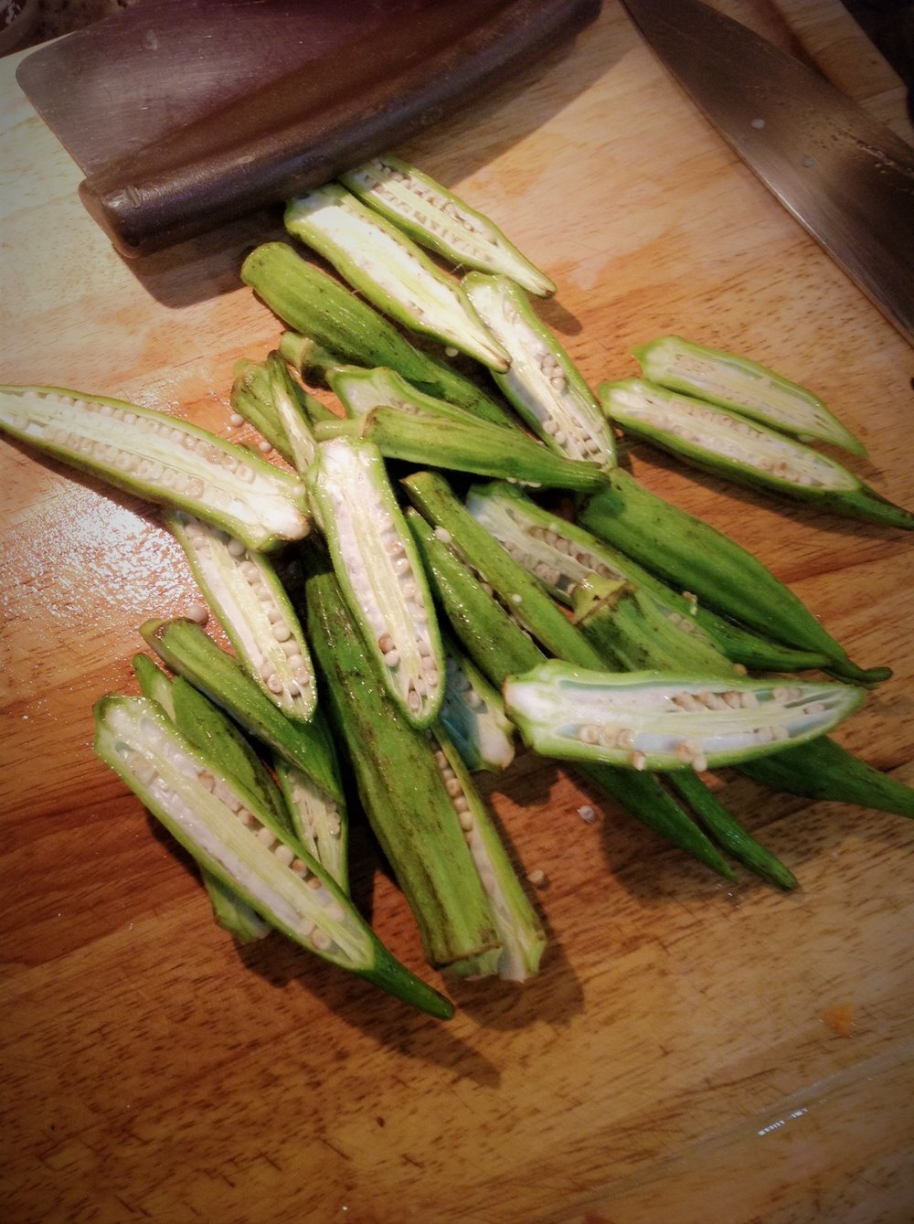 Chef's Tip for Flavor:  Cut the okra in half length-wise for beautiful, large pieces.  This will give help retain some of the crisp texture of the okra, without letting it get too slimy