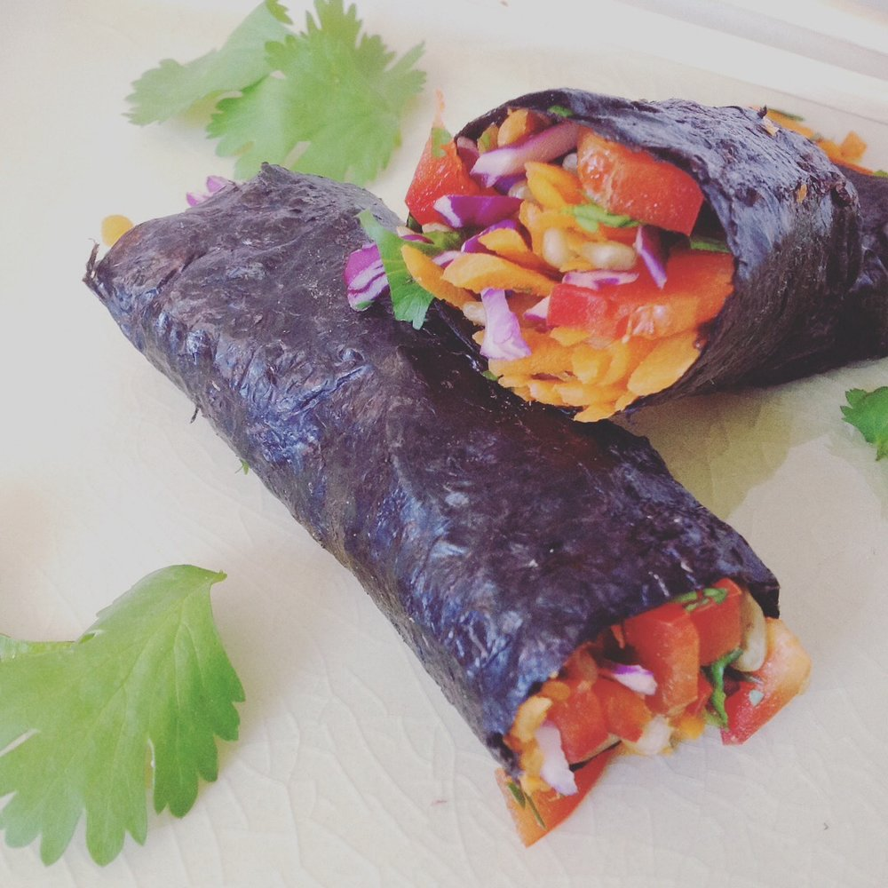 Easy Raw Shredded Veggie Rainbow Nori Rolls - Healthy, Plant-Based, Gluten-Free, Oil-Free, Vegan Snack Recipe