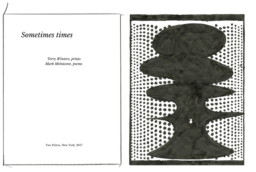 Sometimes times: Prints and poems  Terry Winters / Mark Melnicove Able Baker Contemporary, Portland, ME April 22 - June 3, 2017   Opening Reception Friday April 21, 5-7pm Poetry Reading by Mark Melnicove Friday, June 2, 7 pm The exhibition was initiated by the Colby College Museum of Art and is presented by Able Baker Contemporary in collaboration with Two Palms, New York.