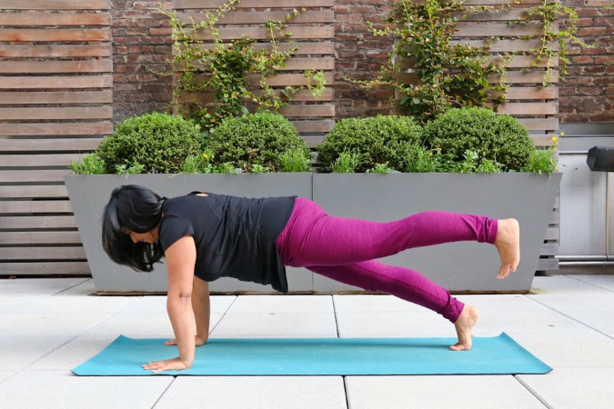 Using tensegrity in any variation of plank or chaturanga will make these poses stronger and easier.