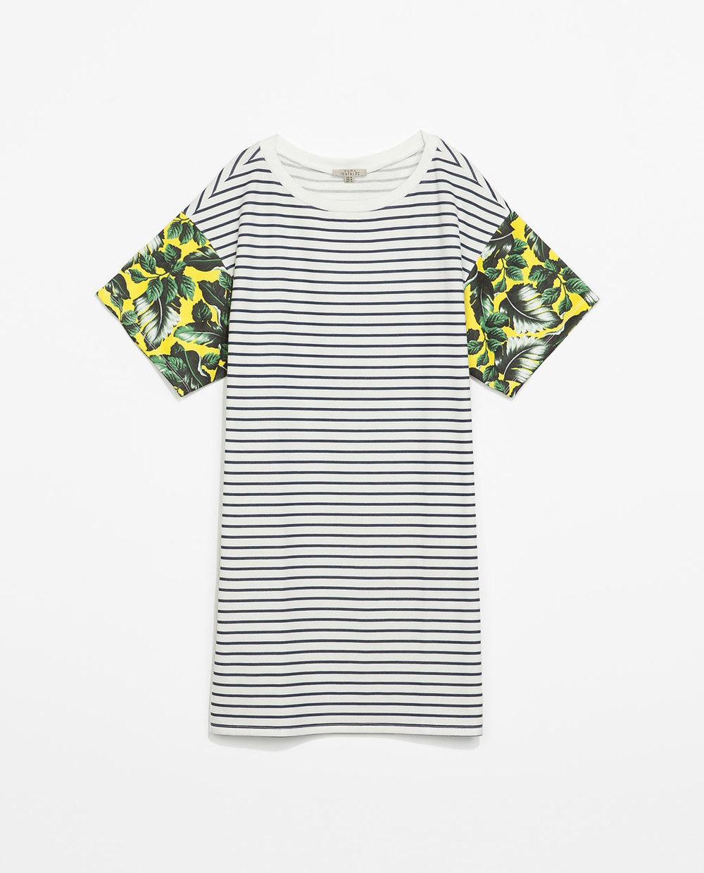 Zara Striped Dress and Tropical Sleeve $35.90
