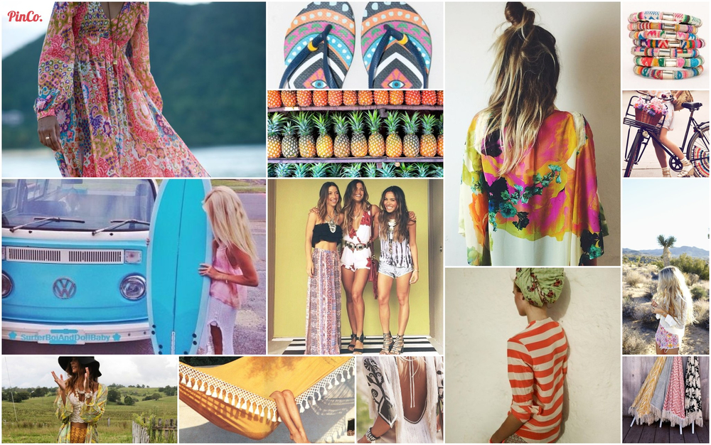 This Boho Babe Inspiration Board is all about warm tones- red, orange, and yellow, mixed with hints of blue, turquoise and lime green to balance them out. The Bohemian summer outfit finds its home with prints, kimonos, and beachy locks. My favorite boho hat here. Hammock here. Umbrellas by Kerry Cassil, call Bonita Summerland to purchase. Dress with fringe detail, by Spell and the Gypsy Collective here. Colorful Kimono here. Bangles by Pamela V, here. Flip Flops by Mara Hoffman, here. For Beachy Waves, try this.