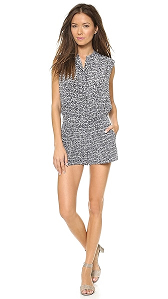 Vince Static Romper, $375. Again, create distraction with prints and hide extra weight by a loose fitting top! This is a chic romper that would look great with a blazer over it to add structure and sophistication.