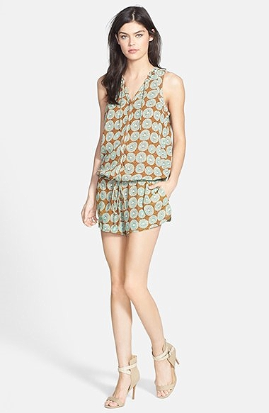 "Maison Scotch Printed Romper, $149. I am obsessed with the print and colors in this piece! This is the perfect romper for summer for my ""apple shaped"" friends!"