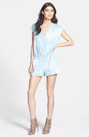 Line & Dot Tie Dye Perforated Chambray Romper, $118.  The leg openings here are forgiving and wide so it can create the illusion that legs are stick figures compared to them! Love the perforated detail!
