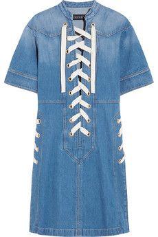 Gucci Lace-up denim mini dress