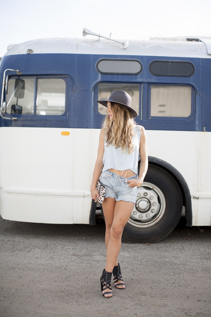 Hat by Janessa Leone, | Top, JBrand | Shorts, Levi's | Shoes, Dolce Vita | Clutch, Prime Cut |  Necklace, Kelly Wearstler, similar here | Ring, Free People, similar here | Wedding Rings, 33 Jewels | Bracelets, Saltybabe.