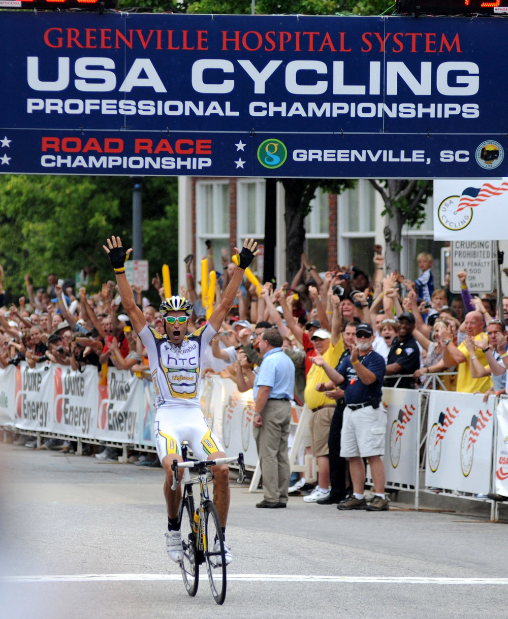 Fans cheer for the winner of the Greenville Hospital System USA Cycling Pro Championships.  (August 30, 2009)