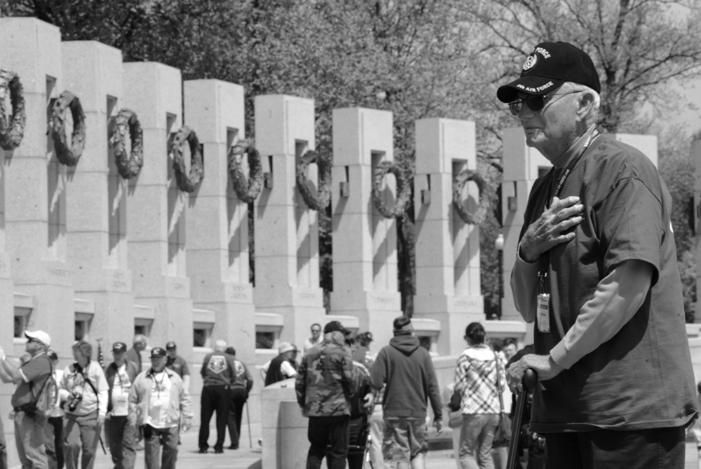 Fred Rector, who served in the army air corps, stands in the World War II Memorial in Washington, D.C., during an Upstate Honor Flight trip on Tuesday, April 20, 2010. Rector was shot down and captured by the Germans in Europe during the war.