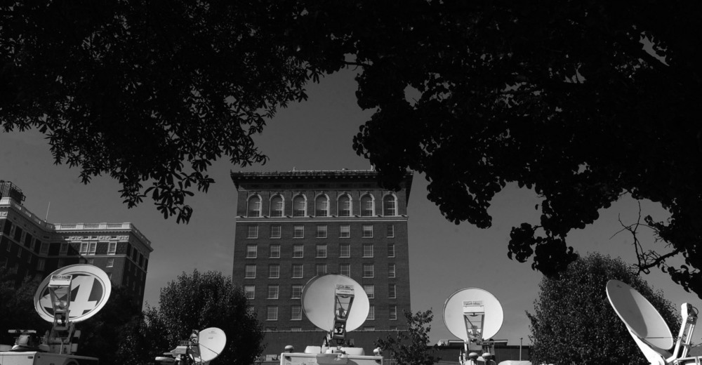 Television satellite trucks line Broad Street in Greenville, as media outlets prepare for the South Carolina republican presidential debate.
