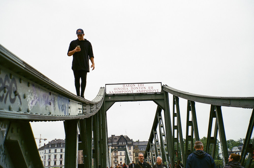 Frankfurt, Germany 2016 - Eiserner Steg bridge, Jason Paul, always on his phone.