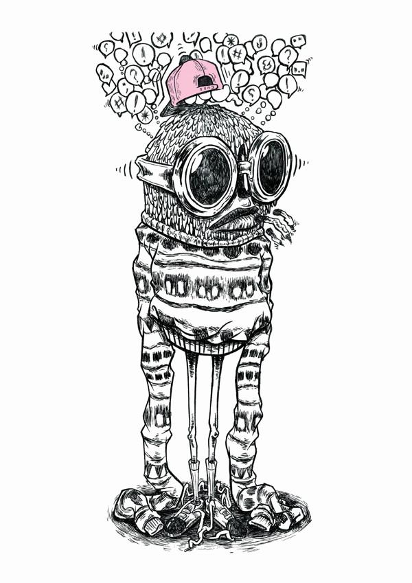 'Leech' Graphite and ink illustration in Moleskine sketchbook, finished digitally.