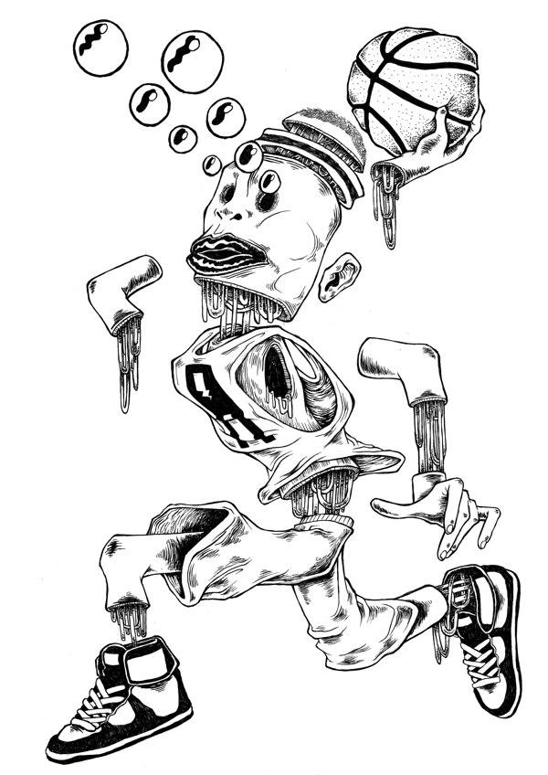 'Gunk' Graphite and ink illustration on Bristol paper.