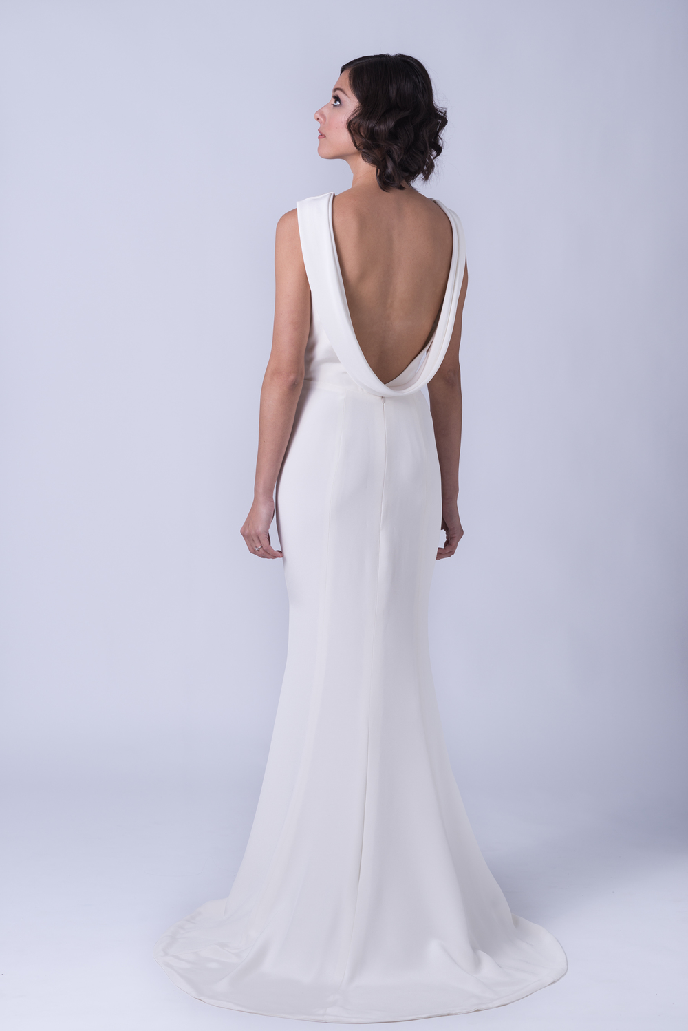 Katharine - Bateau neck backless silk crepe wedding gown with cowl ...
