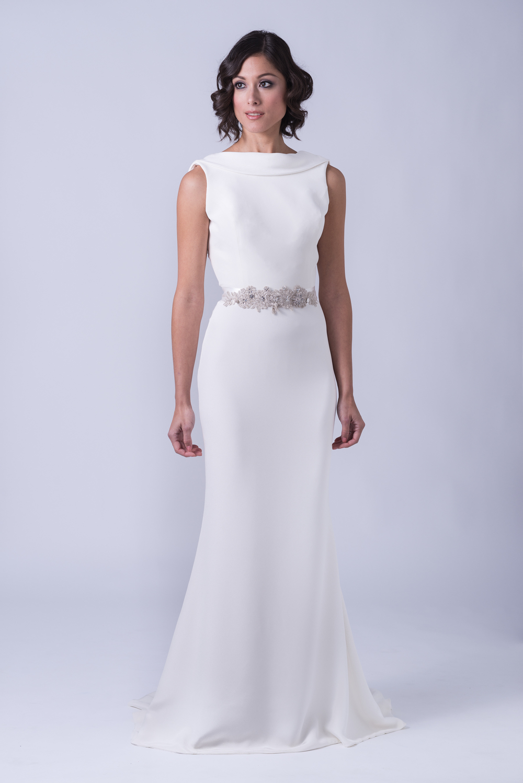 Bridal collection trish lee for Satin cowl neck wedding dress