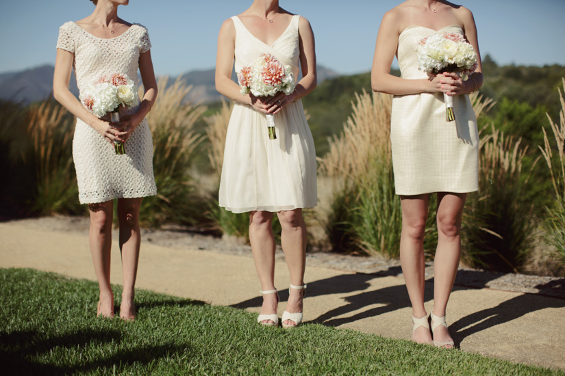 The bridesmaids wore their own dresses in shades of cream.