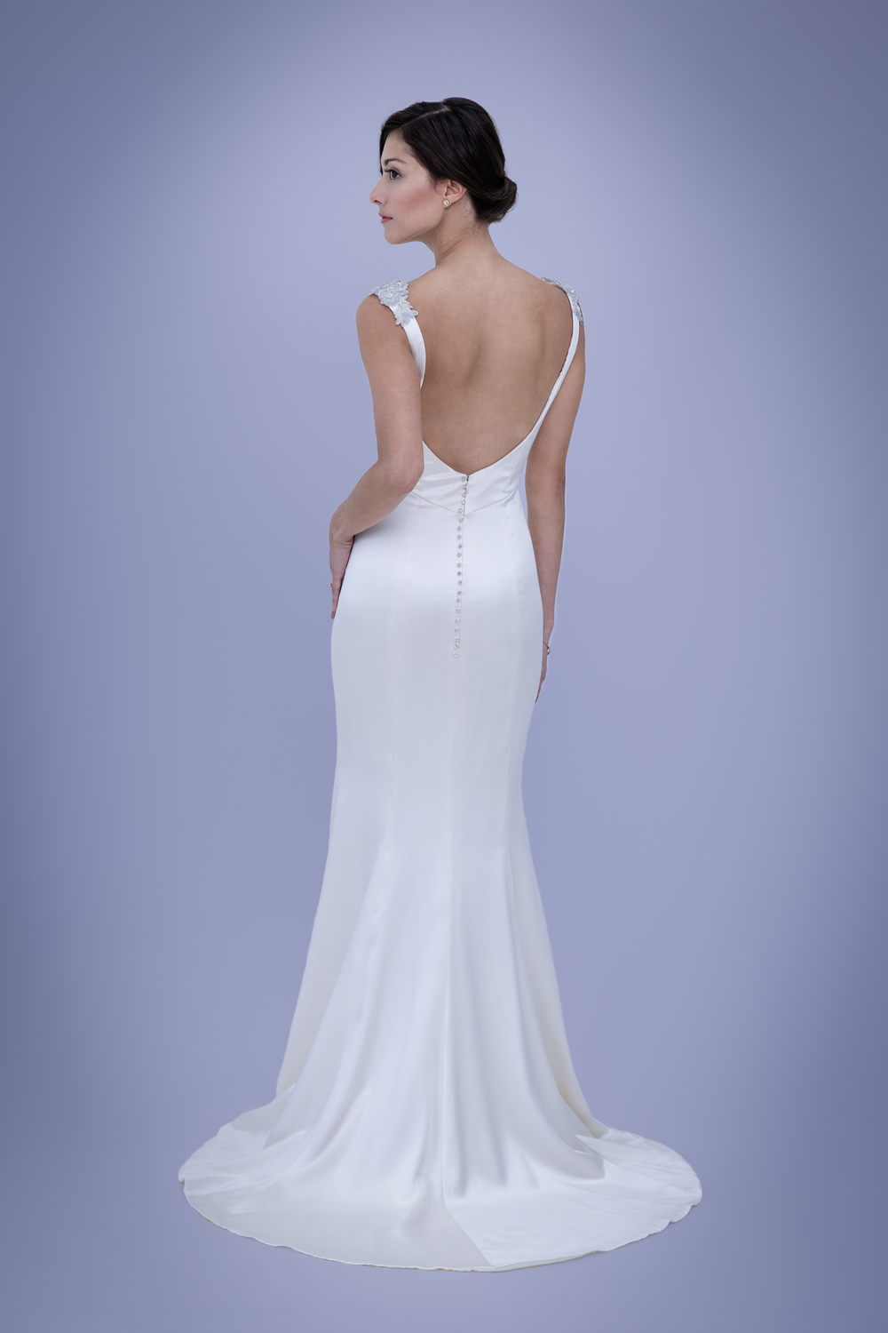 Millie Old Hollywood Backless Silk Wedding Dress With