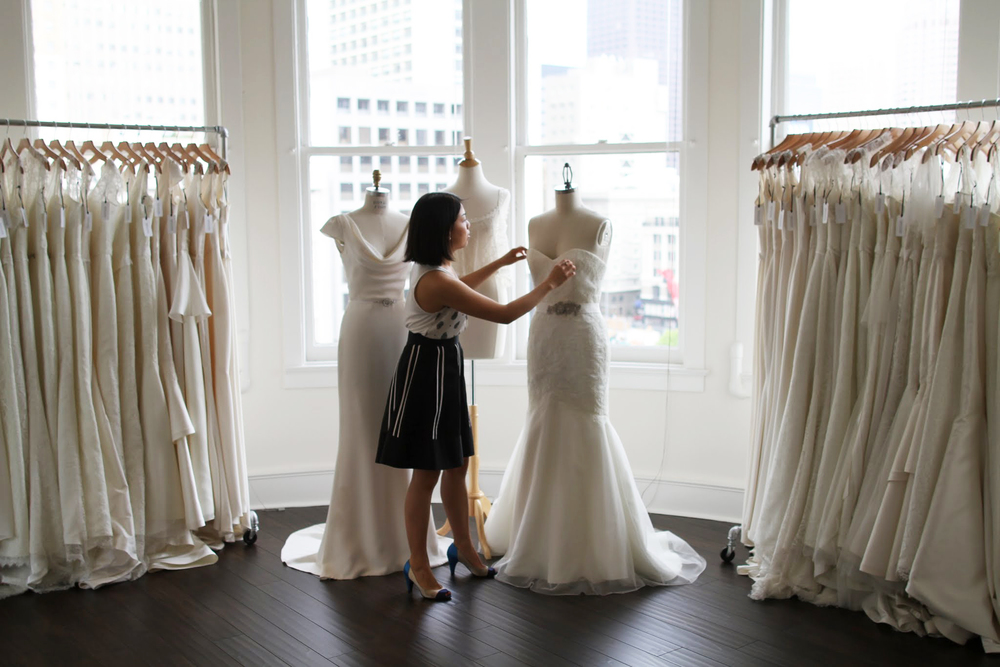 Trish Lee creates made-to-measure bridal gowns from her new bridal salon in San Francisco's Union Square.