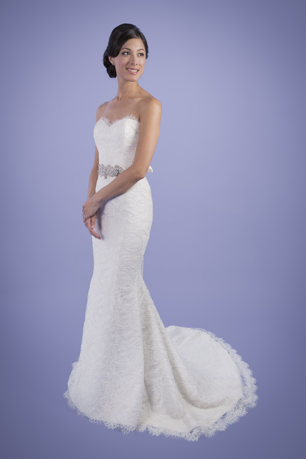 Sabrina - Strapless Sweetheart Lace Trumpet Wedding Dress | Trish Lee