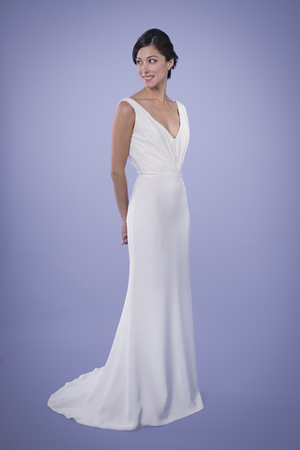 Kitty - Draped V-neck Silk Crepe Wedding Gown | Trish Lee