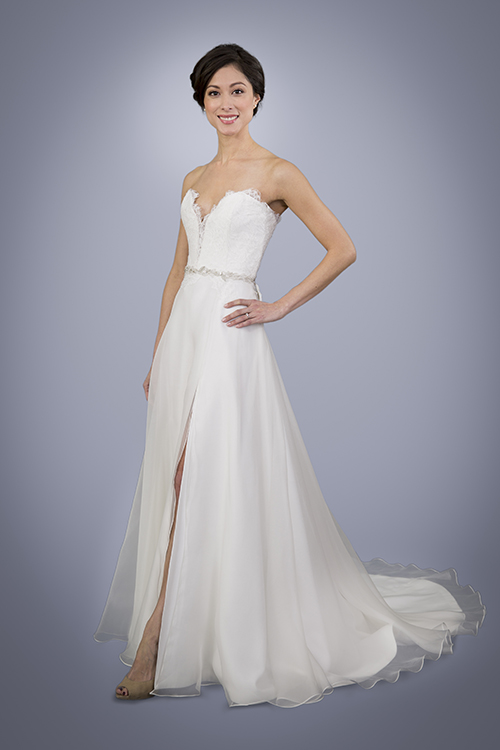 Aster - strapless A-line silk wedding gown with slit | Trish Lee