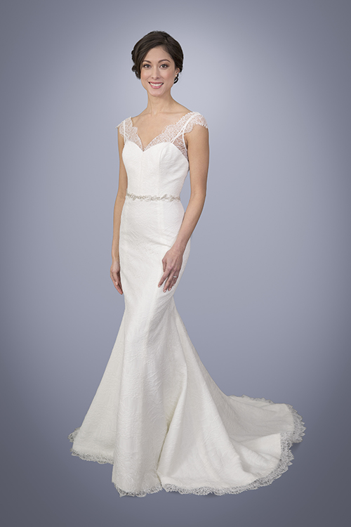 28e2390d9b79 ... Lace Trumpet Wedding Gown With Cap Sleeves. 3