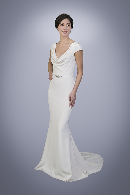 Charlotte silk crepe wedding dress with cowl neck for Satin cowl neck wedding dress