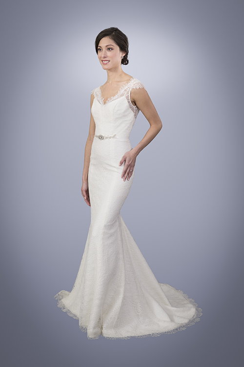 Marie - V-Neck Lace Trumpet Wedding Gown With Cap Sleeves   Trish Lee