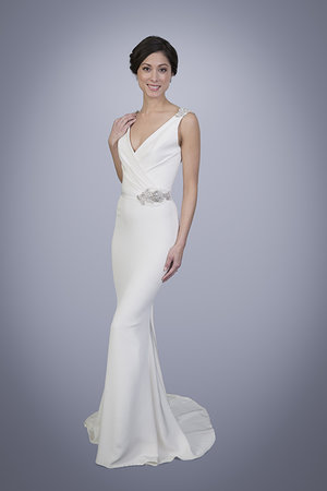Marilyn - V-neck Silk Crepe Old Hollywood Style Wedding Gown | Trish Lee