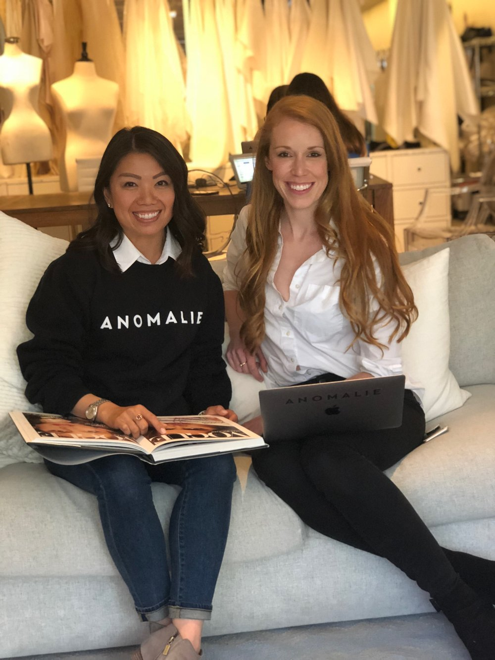 Trish Lee and Leslie Voorhees, CEO and Co-Founder of Anomalie. The company creates custom high-quality wedding dresses through a process that turns brides' inspiration pictures into reality.