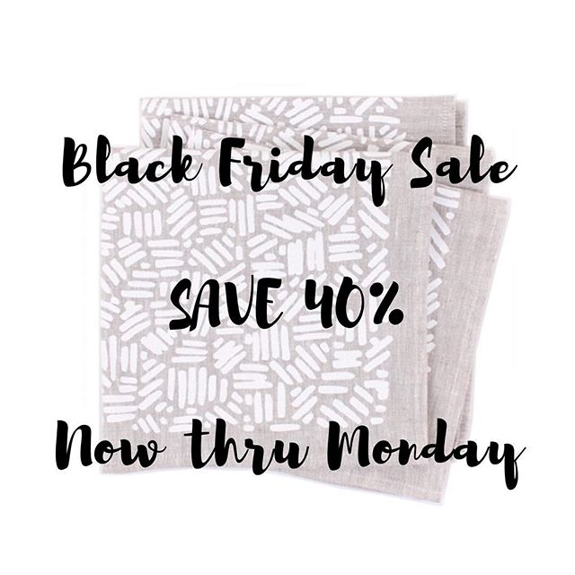 I want to say thank you for supporting my small biz over the years, so please enjoy 40% off (!!!) napkins, towels, and even sale items by using the code BLACKFRIDAY16 at checkout. Sale ends Monday. . . . #blackfriday #blackfridaysales #instasale #holidayshopping #giftideas #tablesetting #tabledecor #handmade #homedecor #makersgonnamake #makersmovement #sale