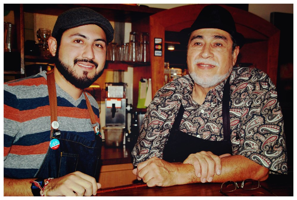 The father-son duo behind Barrio Barista (left: Gilbert De Hoyos, Jr., and father Gilbert De Hoyos, Sr.)