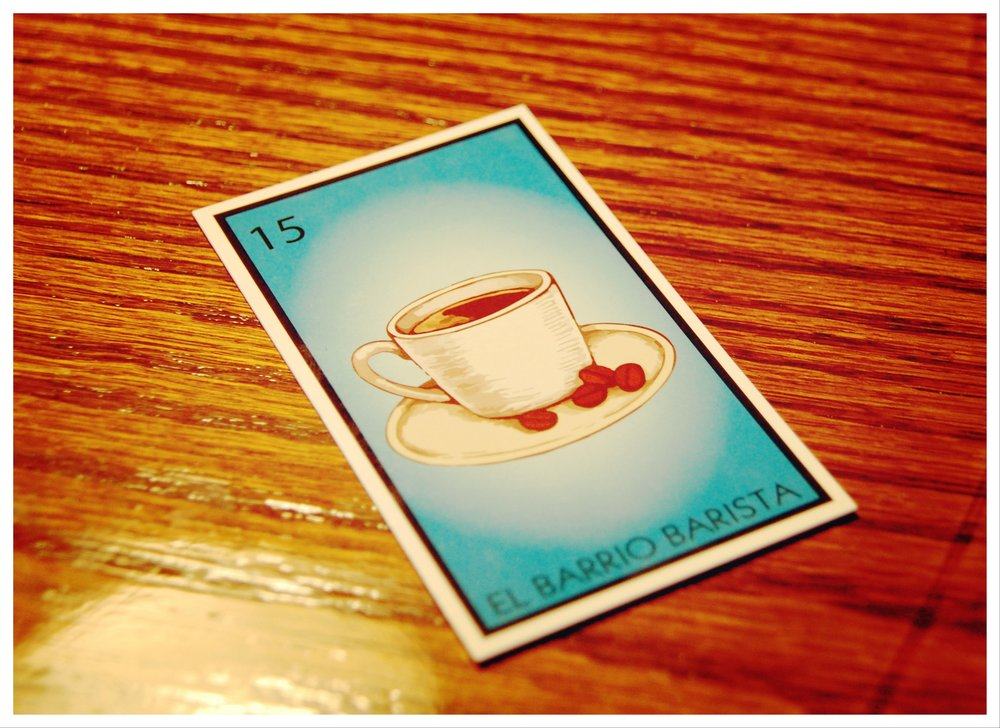 El Barrio Barista rewards card draws inspiration from the popular  lotería  game.