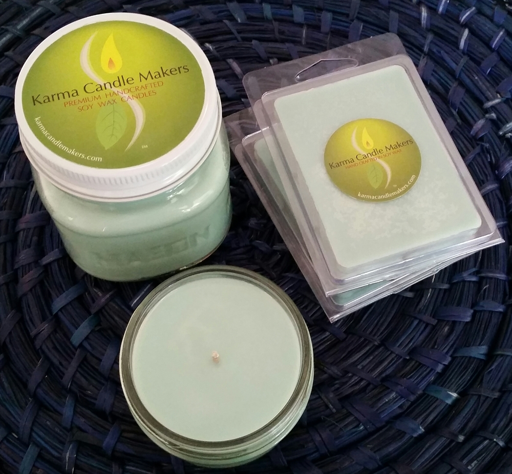 Green Clover and Aloe soy candles and wax cubes from Karma Candle Makers' Essential Karma Collection.