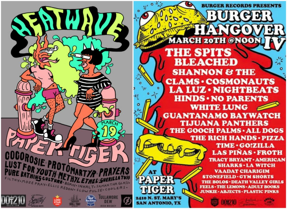 Official fliers for Heatwave (left) and Burger Hangover IV (right), both of which are going down this weekend at the Paper Tiger.  (Photos: www.papertigersa.com)