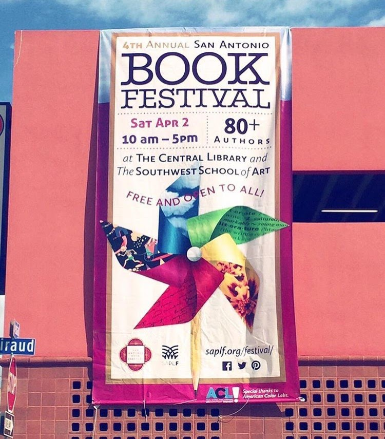 A banner for the 4th Annual San Antonio Book Festival displayed at Central Library. (Photo: BarbacoApparel archive)